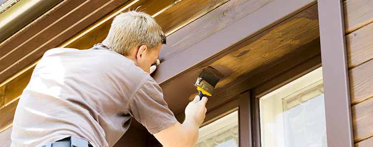 painting a window frame brown