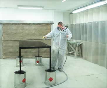 table being spray painted